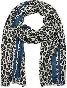 styleBREAKER Châle pour femme avec motif léopard rayures colorées et  franges écharpe d hiver étole 312a9c06bf2