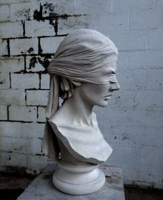 Portland Stone Drapery Sculpture Statue Statuettes Carvings #artwork by #sculptor Anna Rubincam titled: 'Blindfold (female Captive Carved stone Bust sculpture)'. #art #artist #sculpture #AnnaRubincam