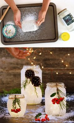 Crafts For Gifts Magical 5 minute DIY snow frosted mason jar decorations: FREE beautiful Thanksgiving & Christmas decor, gifts, winter wedding centerpieces, & great crafts! - A Piece of Rainbow Wine Bottle Crafts, Mason Jar Crafts, Mason Jar Diy, Mason Jar Candle Holders, Mason Jar Projects, Mason Jar Candles, Winter Wedding Centerpieces, Diy Centerpieces, Wedding Decorations
