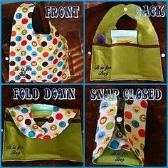 Sewing Baby Gift Tutorial on how to make a Fold N Go Travel Bib - it's a bib with pockets and a snap so you can tote all your essential feeding supplies in one handy-dandy item! Sewing Hacks, Sewing Tutorials, Sewing Crafts, Sewing Projects, Sewing Ideas, Bebe Staff, Sewing For Kids, Baby Sewing, Sew Baby