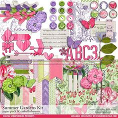 Summer Gardens Scrapbooking Kit - Digital Scrapbooking Kits