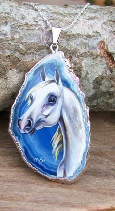 White Gray Arabian Horse Hand Painted Pendant Silver necklace Jewelry art. $74.00, via Etsy.
