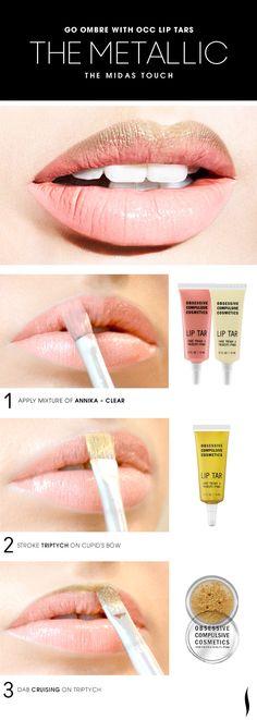 The Metallic Midas Touch Lip HOW TO #OCC #makeup #ombre #Sephora
