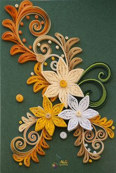 neli ♥ quilling flowers in yellow and orange. Paper Quilling Cards, Paper Quilling Flowers, Paper Quilling Tutorial, Paper Quilling Patterns, Neli Quilling, Quilling Paper Craft, Paper Crafts, Quilled Roses, Quilled Creations