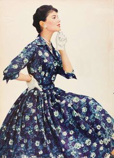 1956 Fashion//////// What a lovely and gracious shirtwaist dress in the subdued floral design so popular in mid to later 1950's. Beautiful garment!