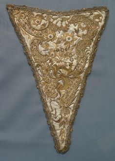 Stomacher, probably Italy, 1725-75. Silk satin with silk and metallic-thread embroidery, sequins, seed pearls, and metallic-lace trim.