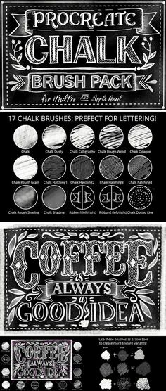 Procreate Chalk Lettering Pack 943604 - Ipad Pro - Trending Ipad Pro for sales. Chalkboard Lettering, Chalkboard Designs, Chalkboard Decor, Typography Letters, Doodle Lettering, Ipad Art, Lettering Tutorial, Photoshop Brushes, Apps