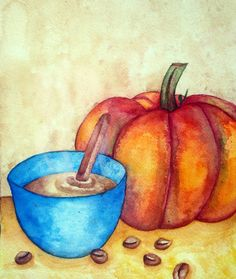"""Pumpkin Spice Latte ☕🎃 August/September 2016 Watercolor 8.5 x 11""""  Considering Fall is right around the corner, I decided to do a remake of a 2013 art piece. I personally don't enjoy pumpkin spice coffee, but I know a lot of people who do! This piece doubles as an illustration and graphic design on my website. Instagram: MeganR_illustration"""