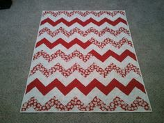 Chevron quilt with baseball fabric - could use any sport or multiples!