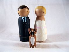 Personalized Peg Doll Wedding Cake Topper with 1 by knottingwood, $55.00