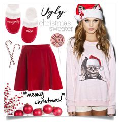 """Christmas Kitty"" by katrinaalice ❤ liked on Polyvore featuring Victoria's Secret, Wildfox, Kate Spade and Love Moschino"