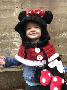 Items similar to Minnie Mouse Inspired Cape / Cowl with Hood and Mouse Ears - 2 years - 5 years on Etsy Crochet Hat For Women, Crochet For Kids, Crochet Poncho, Crochet Lace, Baby Hats Knitting, Knitted Hats, Scoodie, Crochet Disney, Crochet Baby Clothes