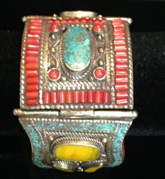 Tibetan Turquoise and Coral Cuff Bracelet by WorldofBacara on Etsy $220.00