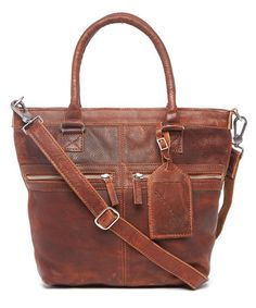 This Cognac Distressed Leather Convertible Tote is perfect! #zulilyfinds