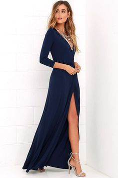 Stroll along tree-lined lanes, with a glass of ice tea and the Garden District Navy Blue Wrap Maxi Dress flowing in the breeze! Jersey knit wrap dress has a tying sash. Birthday Dress Women, Birthday Dresses, Maxi Wrap Dress, Tie Dress, Dress Lace, Prom Dress, Winter Bridesmaid Dresses, Gold Bridesmaids, Garden Wedding Dresses