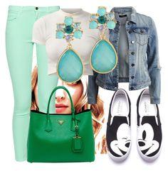"""231. Amanda Seyfried in Pastel Skinny Jeans, White Crop Top, Denim Jacket, Mickey Shoes, Teal Earrings, and Prada Bag"" by kohlanndesigns ❤ liked on Polyvore"