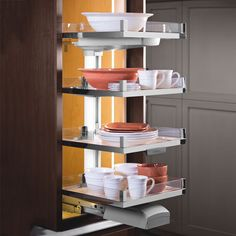 The Lavido Pantry Pull-Out by Hafele features soft-open soft-close shelves. Able to allow access from all three sides, the Lavido Pull-Out can hold from four to six shelves, which can easily be adjusted. Tray Organization, Kitchen Gadgets, Inside Cabinets, Shelves, Diy Pantry Organization, Pantry Organizers, Hafele, Pull Out Shelves, Frameless Cabinets