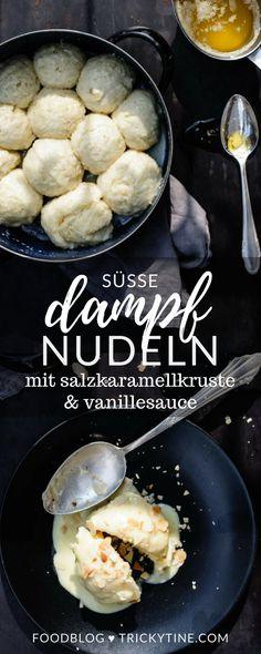 süße dampfnudeln mit salzkaramellkruste und vanillesauce ♥ trickytine.com