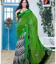 Buy Green and White Color Cutpatch Art silk Saree White Bloue Piece jacquard-saree online