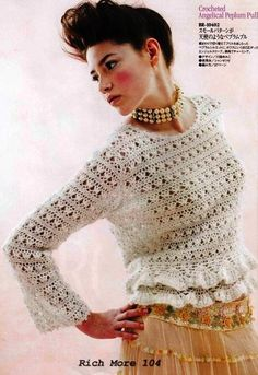 Crochetemoda: Blusa Branca de Crochet - free chart