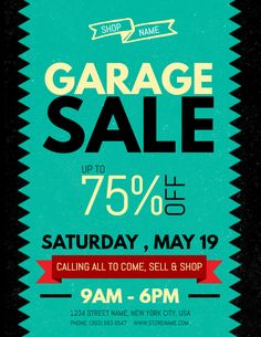 Vintage Garage Sale Poster Social Media Template  Garage Sale