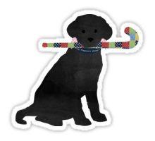 Black Lab Retriever Field Hockey Dog Sticker