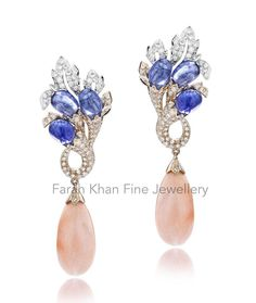 """""""I just love this combination of Tanzanites Corals and diamonds. #farahkhanfinejewellery #fkfj #fkfjdesign #farahkhanali @farahkhanfinejewellery .…"""""""