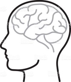Download An illustration of a face with an outline of the brain in ...