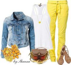 желтые брюки джинсовая куртка