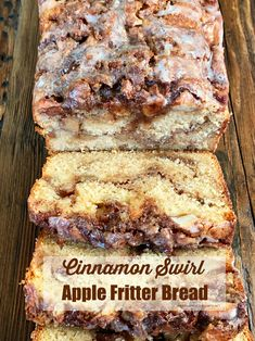 Cinnamon Swirl Apple Fritter Bread is an easy and crowd-pleasing recipe! Enjoy this quick bread any time of year with coffee for breakfast or with tea for an afternoon treat. This Cinnamon Swirl A… Apple Fritter Bread, Apple Fritters, Apple Cinnamon Bread, Cinnamon Swirl Cake, Apple Bread Recipe Healthy, Cinnamon Cake Recipes, Quick Cinnamon Rolls, Apple Fritter Recipes, Donut Recipes