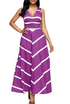 Purple V Neck Cut out Back Chevron Stripes Maxi Dress modeshe.com