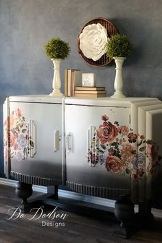 Is it Spring yet? This floral decor transfer from added so much needed pop to this circa Art Deco Sideboard. Repurposed Furniture, Shabby Chic Furniture, Vintage Furniture, Classic Furniture, Rustic Furniture, Repurposed Wood, Outdoor Furniture, Paint Furniture, Furniture Makeover