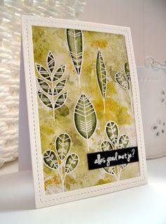 Geometric Greenery: MFT, leaf sketch, embossing, distress ink, zigs on leaves, Scrapcolour