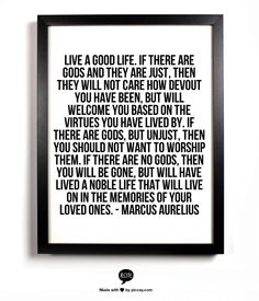Live a good life. Who ever wrote this, Marcus Aurelius or an unknown person, its so beautiful.