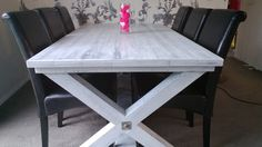 Dining table finished with blackboard paint undercoat and white streaky goodness on top
