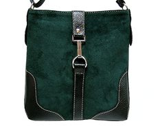 DARK GREEN GENUINE SUEDE SHOULDER HANDBAG WITH ADJUSTABLE LONG STRAP, £19.99