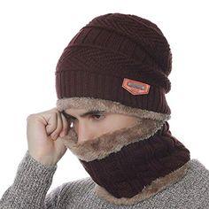 20b2c7ccd11 Enjoy exclusive for Winter Warm Knit Beanie Hat Neck Warmer Loop Scarf Set 2  Pcs Fleece Lining Men Women Skull Cap   Texting Gloves online