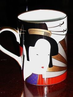 Fitz and Floyd Geisha Mug - Porcelain and Beautiful. - pinned by pin4etsy.com