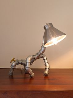 Dog Desk lamp made of galvanized fittings and by LampsandThingys
