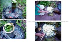 Boiling rice in bamboo