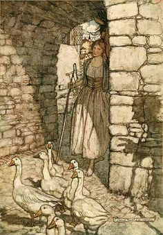 Grimms Fairy Tales illustrated by Arthur Rackham. 'The Goose Girl'
