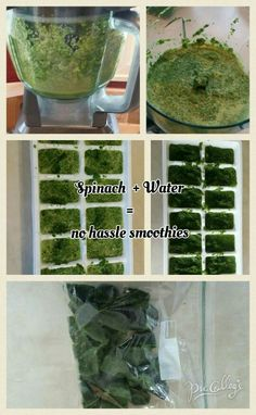 Blend spinach and water to a consistency that you are able to pour into ice cube trays. Don't add to much water; it is just to help with blending. This makes mornings so easy when making oothies to rush out the door. Plus works as ice cubes! Ice Cubes, Ice Cube Trays, Vegetable Ideas, Ninja Blender, Consistency, Mornings, Spinach, Health Tips, Smoothies