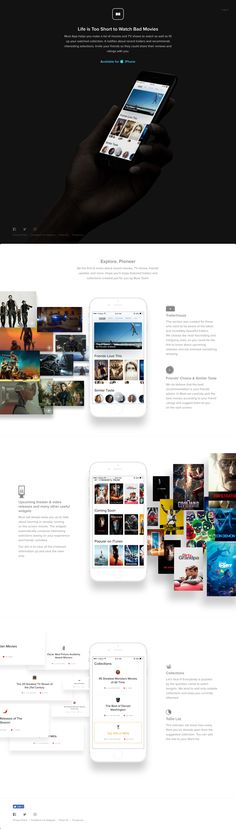 Clean long scrolling landing page for 'Must App' - a new app to help manage your movies & tv shows. Lovely little touch with the subtle shine effect on the download link.