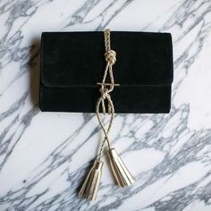 Black Suede Clutch with Gold braided leather by NIKKI WILLIAMS bcee8a6282fe9