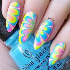 Neon watermarble nail art design 4/19/2015