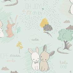 Tissu Art Gallery Littlest Furry Tales Minty
