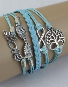 Tree, Infinity, Owls, Love Wrap Bracelet – Light Blue  $15.00  Fashion Jewelry at Modest Prices - www.gomodestly.com