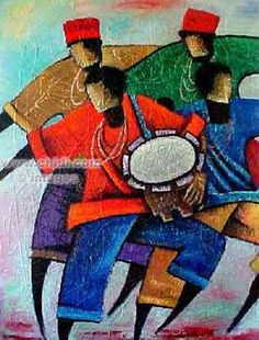 Pintura llamada : Wind of drums. Esta pintura representa la cultura africana.