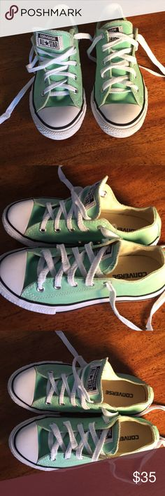 Converse All Star ⭐️ Sneakers Girls Size 1 Converse All Star ⭐️ Sneakers,Mint green, girl size one, least up the front, pictures are part of the description. Converse Shoes Sneakers