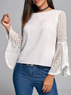 White Blouse with Lace Bell Sleeves, Casual Top Casual Outfits For Teens, Cute Outfits, Corsage, Types Of Sleeves, Blouse Designs, Shirt Blouses, Fashion Outfits, Womens Fashion, Fashion Site